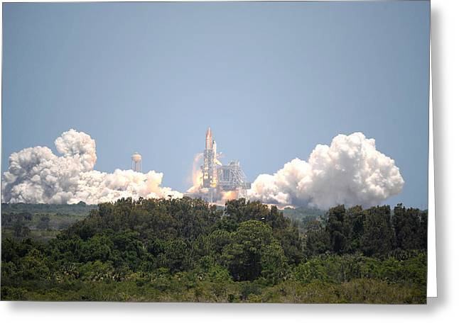 Greeting Card featuring the photograph Sts-132, Space Shuttle Atlantis Launch by Science Source