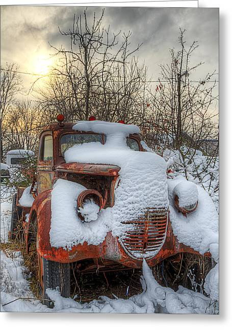 Greeting Card featuring the photograph Stuck In The Snow by Micah Goff