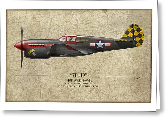 Stud P-40 Warhawk - Map Background Greeting Card by Craig Tinder