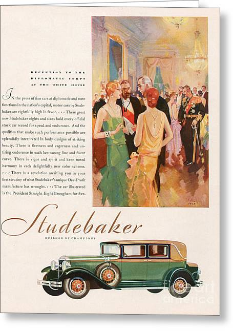 Studebaker 1929 1920s Usa Cc Cars Greeting Card by The Advertising Archives