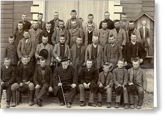 Students And Their Headmaster Greeting Card by Underwood Archives