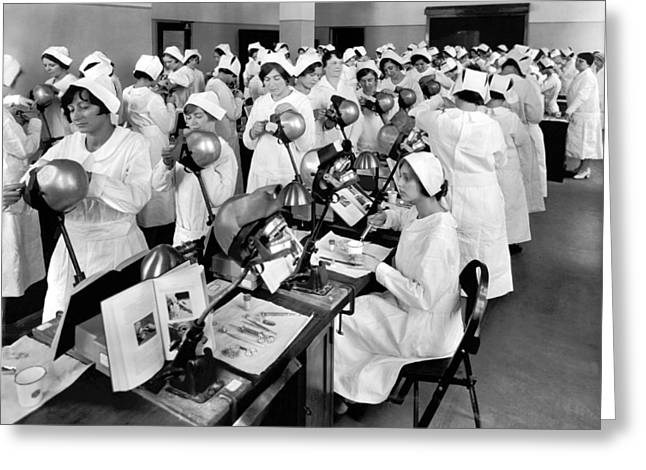 Students At A Dental School Greeting Card by Underwood Archives