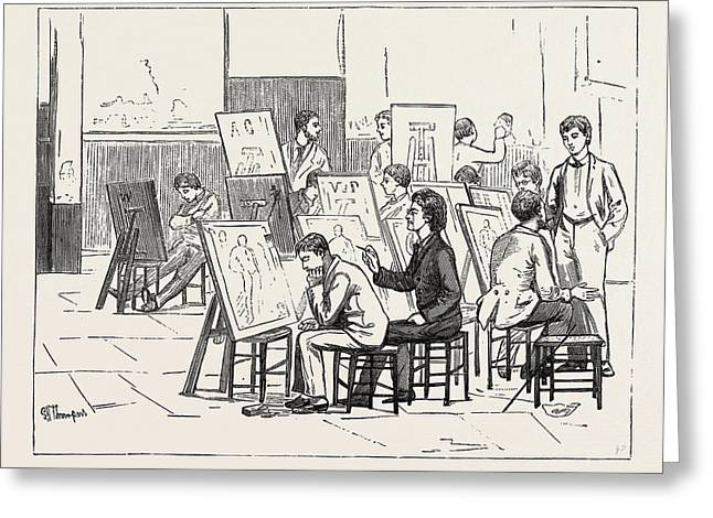 Students Life In A Continental Art School The Antique Room Greeting Card by English School