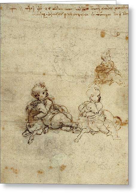 Studies For The Christ Child With A Lamb Recto,  Head Of An Greeting Card by Litz Collection