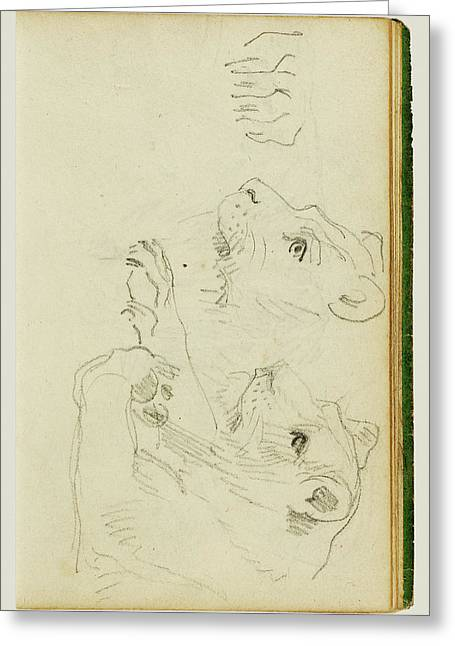 Studies Of The Head And Forelegs Of A Lioness Théodore Greeting Card