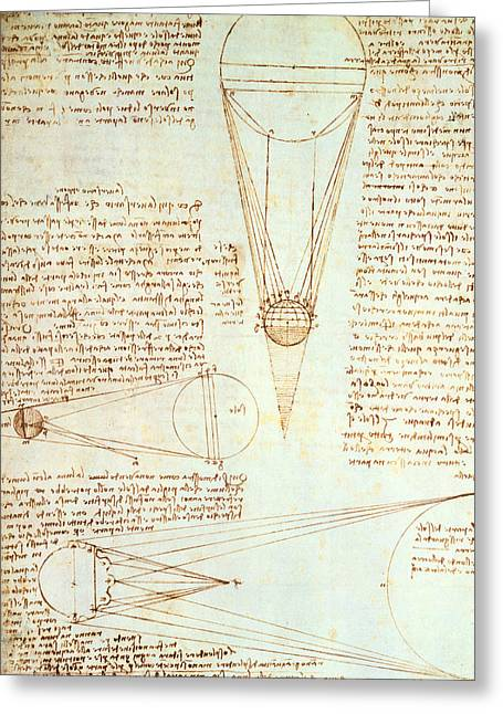 Studies Of The Illumination Of The Moon Greeting Card by Leonardo Da Vinci