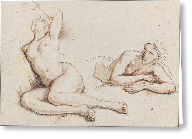Studies Of Two Female Nudes Greeting Card