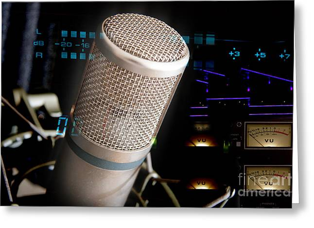 Greeting Card featuring the photograph Studio Microphone And Recording Gear by Gunter Nezhoda