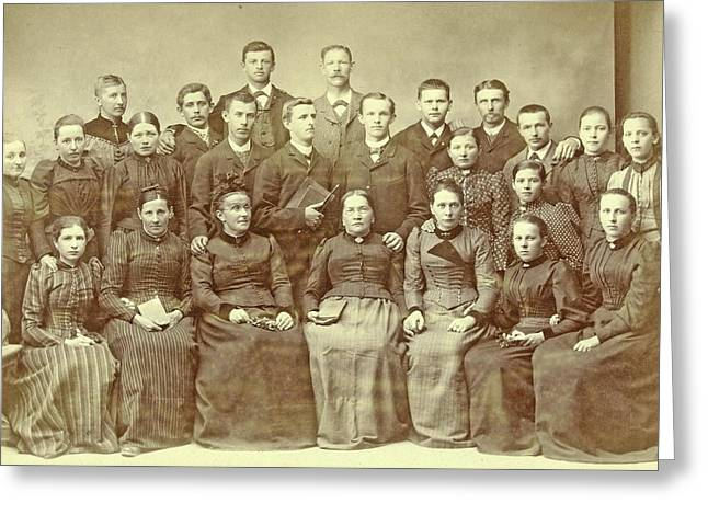 Studio Portrait Of A Family, Taken For A Background Cloth Greeting Card