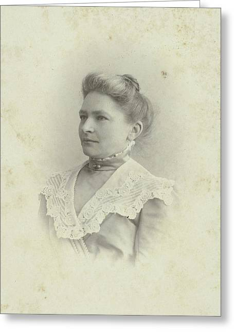 Studio Portrait Of A Woman In A High-necked Dress Greeting Card by Artokoloro