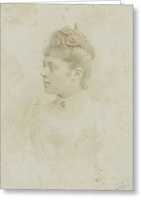 Studio Portrait Of A Young Woman In A White Dress Greeting Card