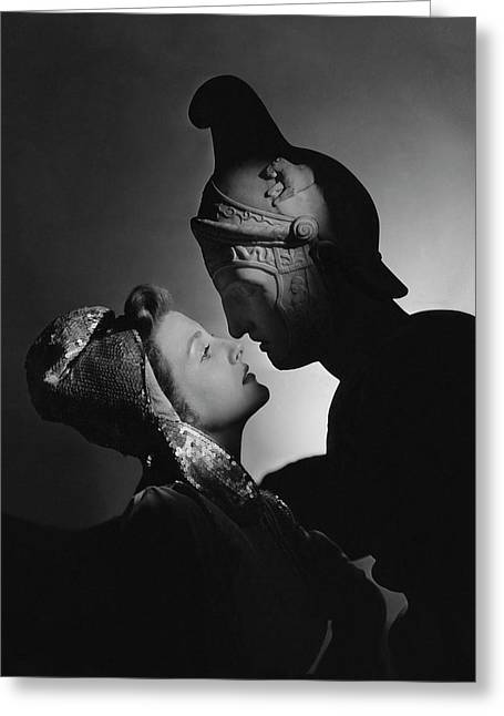 Studio Portrait Of Constance Moore And A Greek Greeting Card by Horst P. Horst