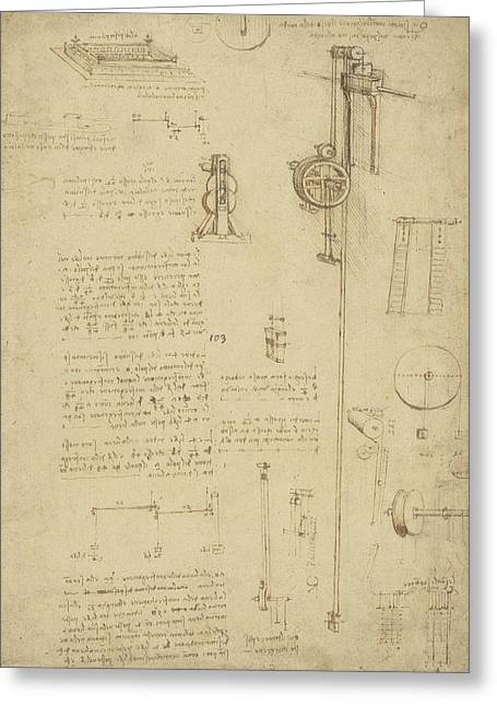 Study And Calculations For Determining Friction Drawing With Notes On Gardens Of Milanese Palace Greeting Card