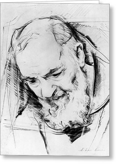 Study For A Padre Pio Monument, 1979-80 Charcoal On Paper B&w Photo Greeting Card