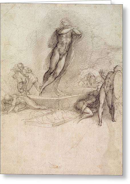 Study For An Ascension Greeting Card by Michelangelo Buonarroti