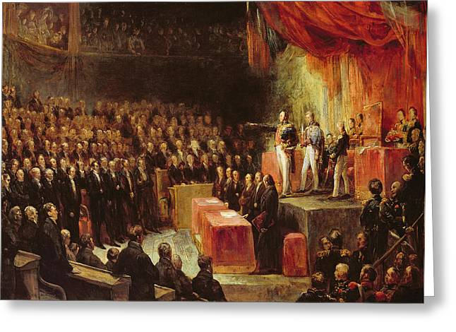 Study For King Louis-philippe 1773-1850 Swearing His Oath To The Chamber Of Deputies, 9th August Greeting Card