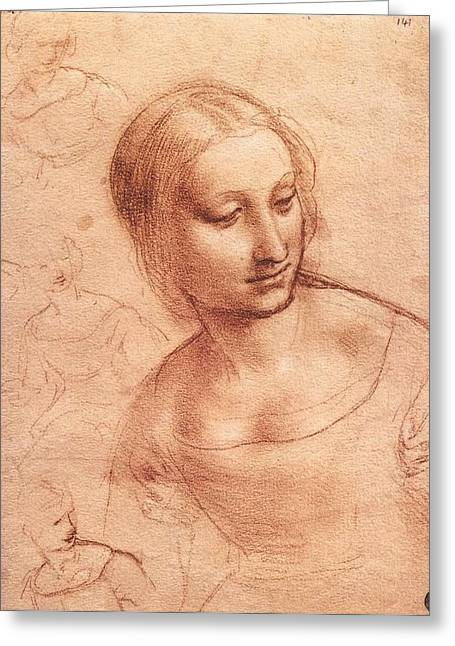 Study For Madonna With The Yarnwinder Greeting Card by Leonardo da Vinci