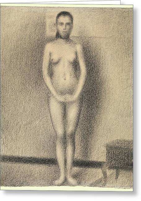 Study For Poseuses Greeting Card by Georges Seurat
