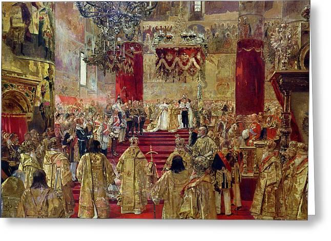 Study For The Coronation Of Tsar Nicholas II 1868-1918 And Tsarina Alexandra 1872-1918 Greeting Card