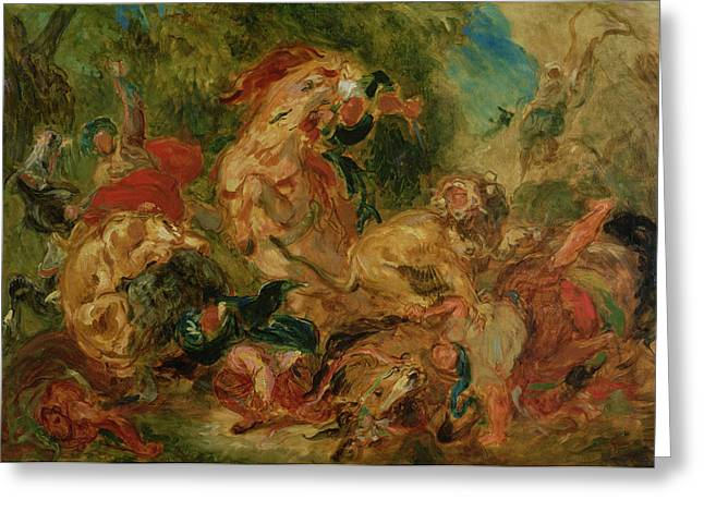 Study For The Lion Hunt, 1854 Oil On Canvas Greeting Card