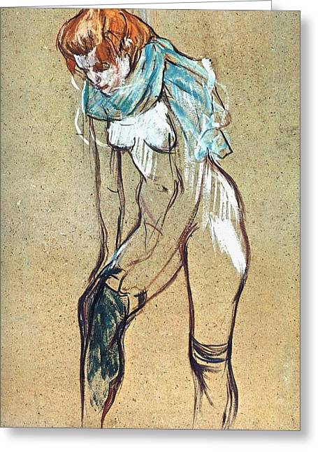 Study For Woman Putting On Her Stocking Greeting Card by Toulouse-Lautrec