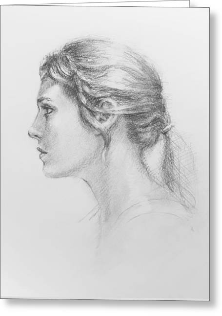 Study In Profile Greeting Card by Sarah Parks