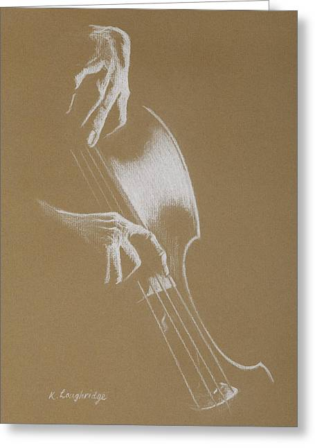 Study In The Bass Clef - Cello Greeting Card by Karen  Loughridge KLArt