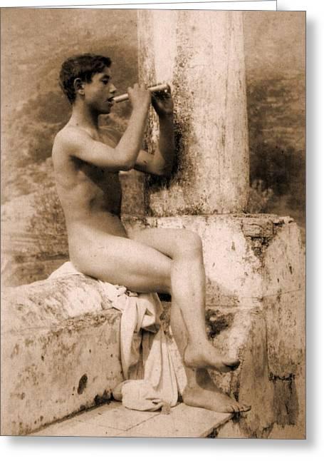 Study Of A Boy Playing A Flute Greeting Card by Wilhelm von Gloeden