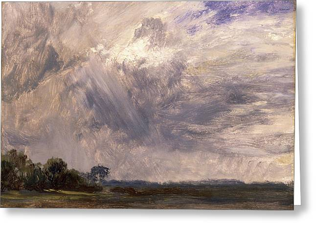 Study Of A Cloudy Sky Cloud Study Landscape With Grey Windy Greeting Card