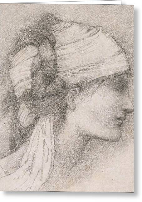 Study Of A Female Head To The Right Greeting Card by Sir Edward Coley Burne-Jones