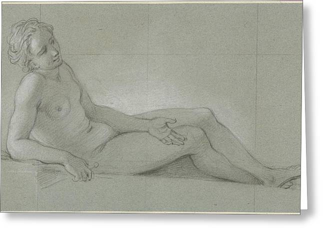 Study Of A Reclining Female Nude Greeting Card
