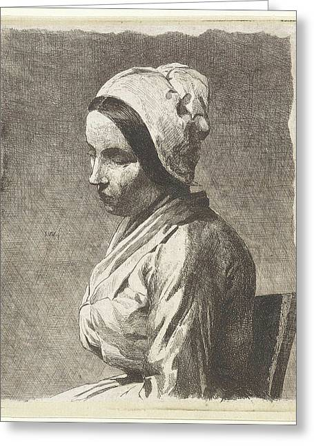 Study Of A Seated Woman, Jan Weissenbruch Greeting Card by Jan Weissenbruch