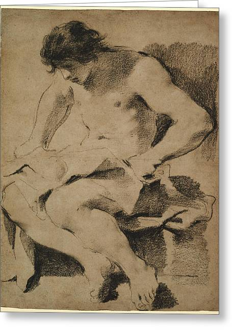 Study Of A Seated Young Man Guercino Giovanni Francesco Greeting Card by Litz Collection