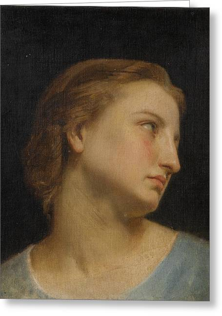 Study Of A Womans Head Greeting Card by William-Adolphe Bouguereau