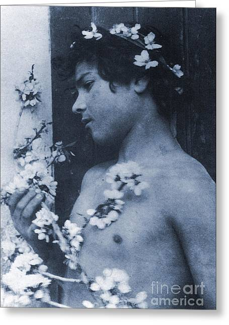 Study Of A Young Boy With Flowers In His Hair Greeting Card