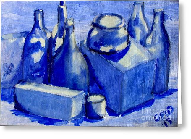 Study Of Boxes And Bottles Greeting Card by Greg Mason Burns