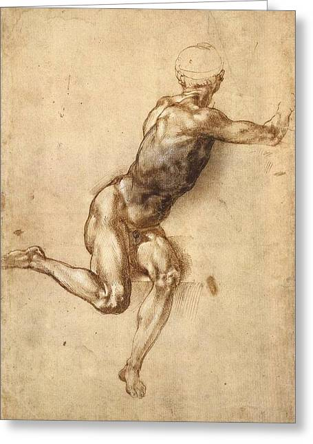 Study Of Figure To Battle Of Cascina Greeting Card