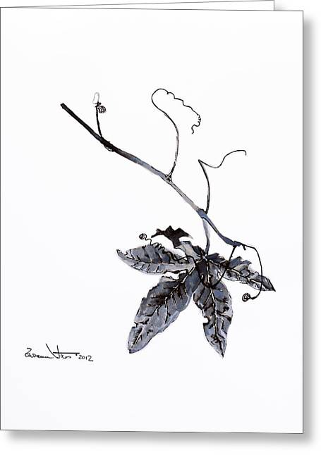 Study Of Leaf In Ink Greeting Card