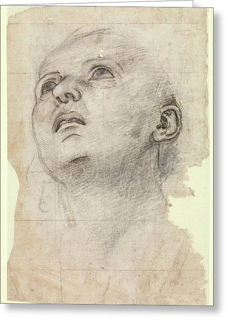 Study Of The Head Of A Youth Gazing Greeting Card by Workshop of Perugino