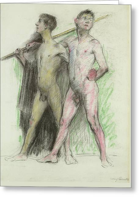 Study Of Two Male Figures  Greeting Card
