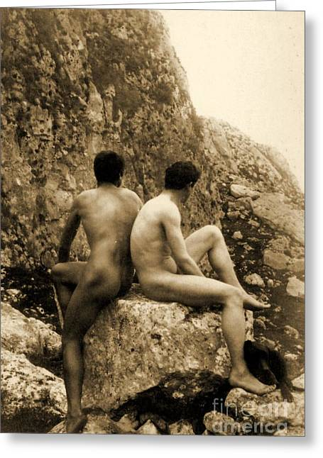 Study Of Two Male Nudes Sitting Back To Back Greeting Card by Wilhelm von Gloeden