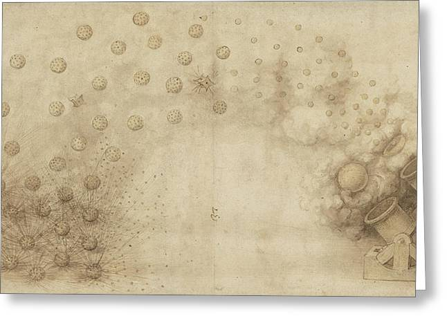 Study Of Two Mortars For Throwing Explosive Bombs From Atlantic Codex Greeting Card by Leonardo Da Vinci