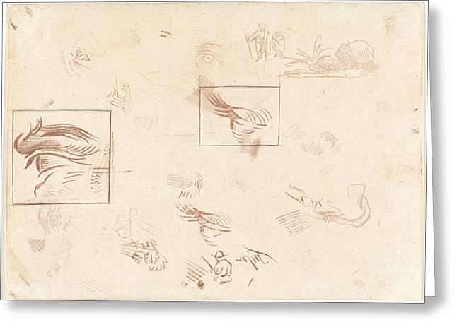Study Sheet With Two Eye Studies, Cornelis Ploos Van Amstel Greeting Card by Quint Lox
