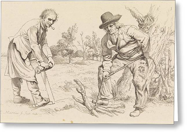 Study Sheet With Wood Firewood-gatherer And A Man With Saw Greeting Card by Quint Lox