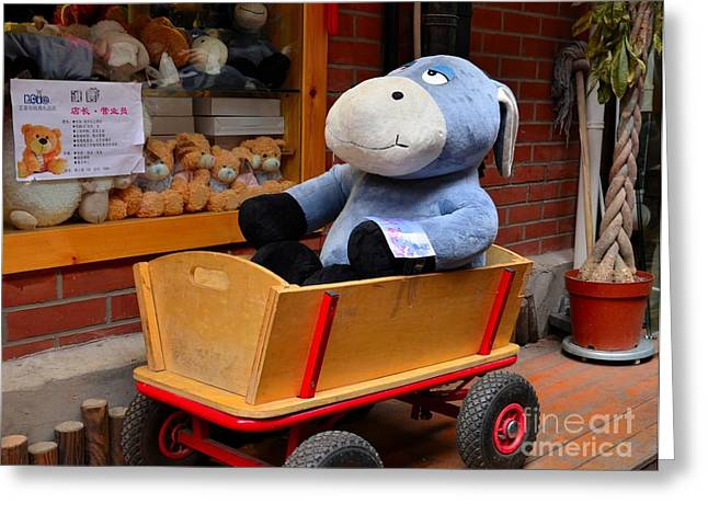 Stuffed Donkey Toy In Wooden Barrow Cart Greeting Card