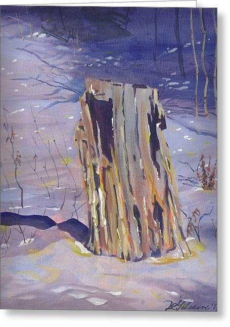 Stump In Winter Greeting Card