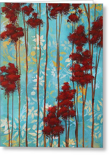 Stunning Abstract Landscape Elegant Trees Floating Dreams I By Megan Duncanson Greeting Card by Megan Duncanson