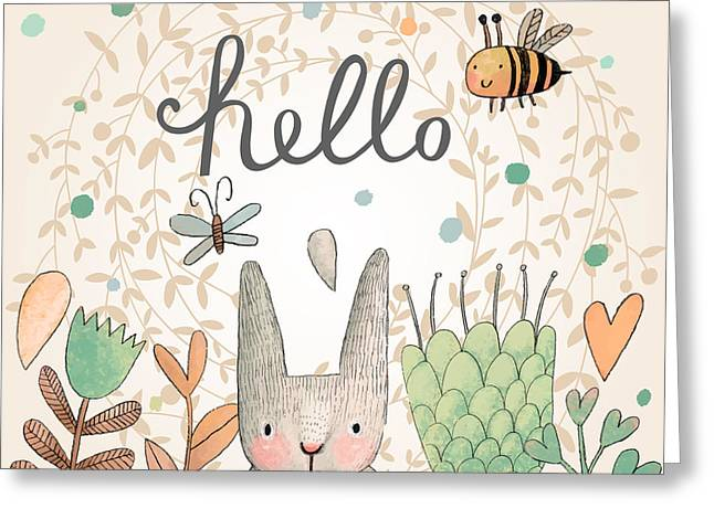 Stunning Card With Cute Rabbit Greeting Card