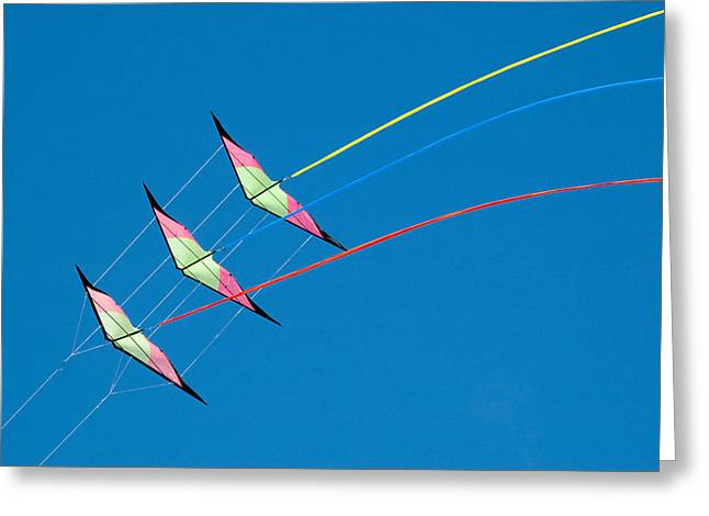 Stunt Kite At The Windscape Kite Festival 2011 Greeting Card by Rob Huntley