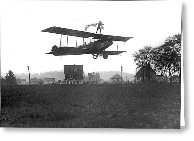 Stunts Atop A Biplane Greeting Card by Underwood Archives